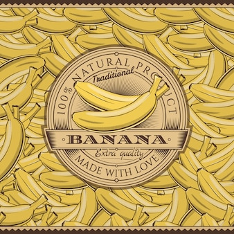 Etiqueta de plátanos vintage