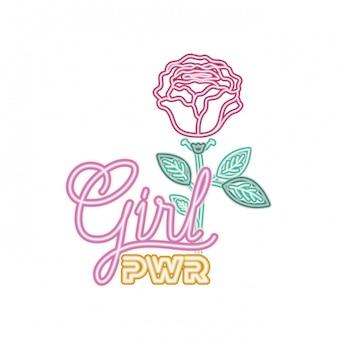 Etiqueta de poder de niña con icono aislado rosa