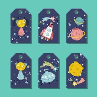 Etiqueta de precio o etiqueta con el conjunto de vectores de dibujos animados de espacio