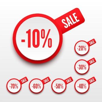 Etiqueta de precio de porcentajes de venta