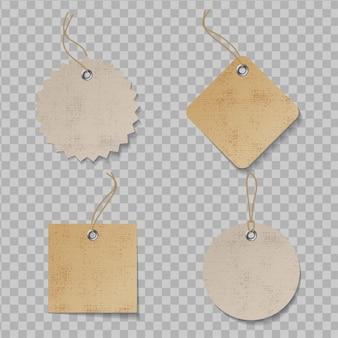 Etiqueta de precio realista con textura. etiquetas artesanales de papel orgánico