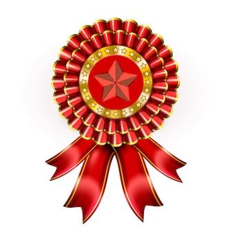 Etiqueta de premio rojo grande con estrella y cintas