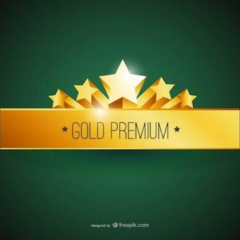 Etiqueta premium con adornos de oro