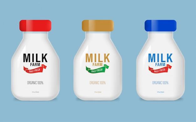 Etiqueta del producto diario de la granja de leche orgánica natural en botella.