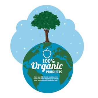 Etiqueta de productos 100% orgánicos con globo y árbol sobre fondo blanco ilustración vectorial
