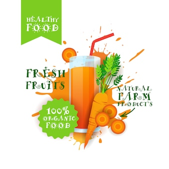 Etiqueta de productos de granja de alimentos naturales con logotipo de jugo de zanahoria fresco sobre salpicaduras de pintura