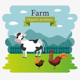 Etiqueta de productos orgánicos de escena de la granja
