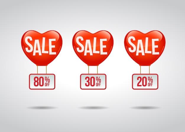 Etiqueta de promoción de venta con globos de solera