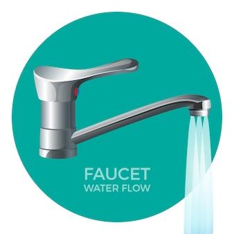 Etiqueta promocional de flujo de agua de grifo con grifo moderno en color metálico. fontanería de alta calidad para casa comercial emblema redondo aislado realista.