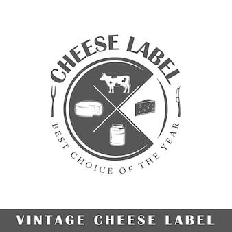 Etiqueta de queso aislada sobre fondo blanco. elemento de diseño. plantilla para logotipo, señalización, diseño de marca.