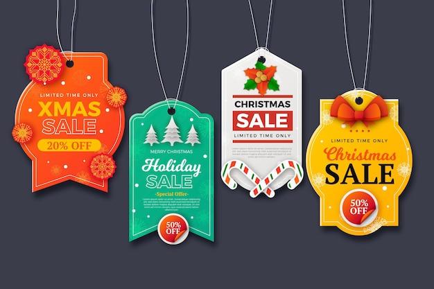 Etiqueta de rebajas navideñas en estilo papel
