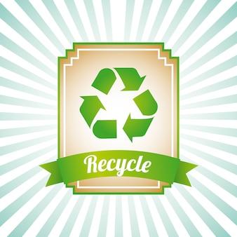 Etiqueta de reciclaje sobre fondo grunge ilustración vectorial
