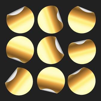 Etiqueta redonda dorada, etiquetas engomadas circulares, insignia de etiqueta circular dorada y conjunto aislado de emblema de etiqueta de precio dorado