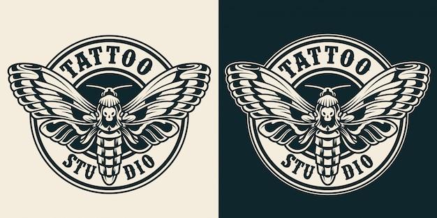 Etiqueta redonda de estudio de tatuaje vintage