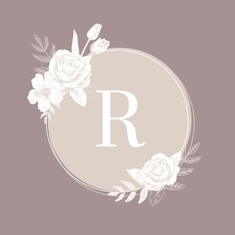 Etiqueta redonda de flores
