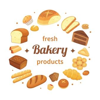 Etiqueta redonda de productos de panadería. pan recién horneado, panecillos de centeno y pan horneado. plantilla de etiquetas de pan