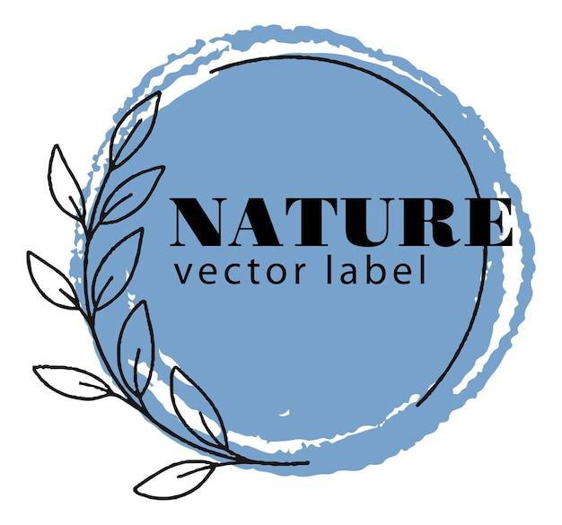 Etiqueta redondeada de naturaleza con rama de follaje