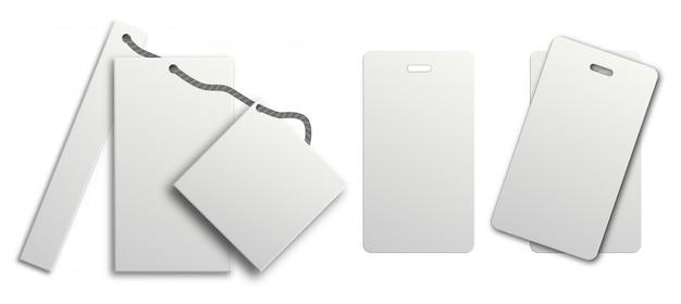 Etiqueta de regalo blanca. etiqueta de precio establecida en cadena de colgar