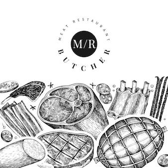 Etiqueta de restaurante de carnicero y carne.