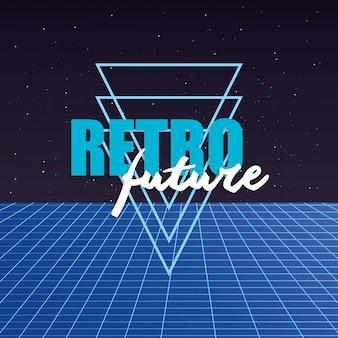 Etiqueta retro futura con figuras geométricas