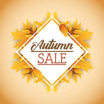 Etiqueta de rombo de venta de otoño