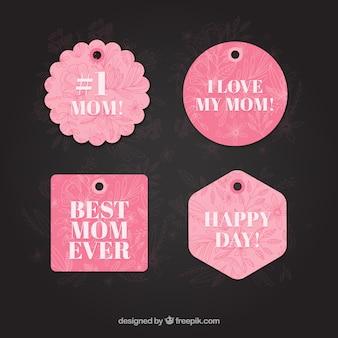 Etiqueta rosa de feliz día de la madre