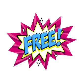 Etiqueta rosa gratis en globo de cómic bang