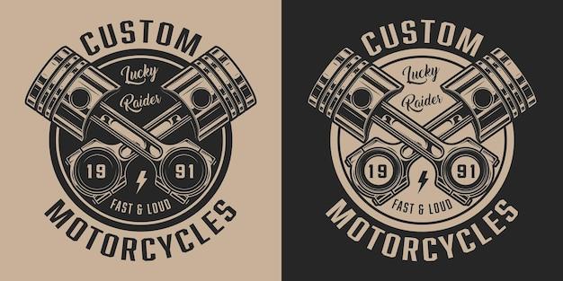 Etiqueta de servicio de reparación de motocicletas vintage con inscripciones y pistones cruzados