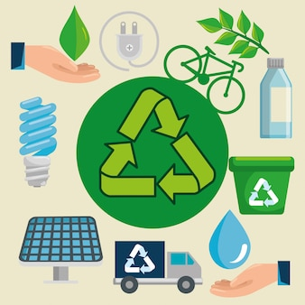 Etiqueta con signo de reciclaje para protección ecológica