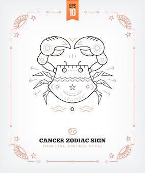 Etiqueta de signo de zodiaco de cáncer de línea delgada vintage. símbolo astrológico retro, místico, elemento de geometría sagrada, emblema, logotipo. ilustración de contorno de trazo aislado en blanco