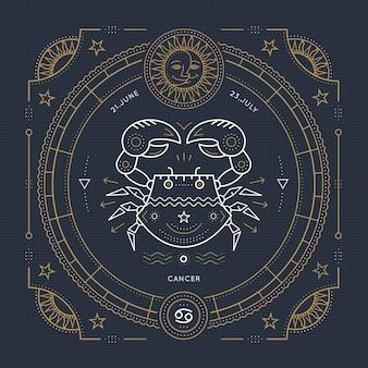 Etiqueta de signo de zodiaco de cáncer de línea delgada vintage. símbolo astrológico retro, místico, elemento de geometría sagrada, emblema, logotipo. ilustración de contorno de trazo