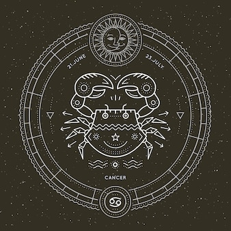 Etiqueta de signo de zodiaco de cáncer de línea delgada vintage. vector retro símbolo astrológico, místico, elemento de geometría sagrada, emblema, logotipo. ilustración de contorno de trazo
