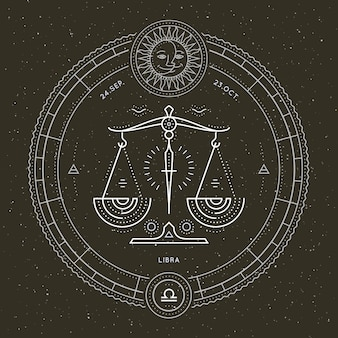Etiqueta de signo de zodiaco libra delgada línea vintage. vector retro símbolo astrológico, místico, elemento de geometría sagrada, emblema, logotipo. ilustración de contorno de trazo