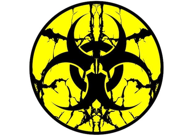 Etiqueta de símbolo biohazard escupir