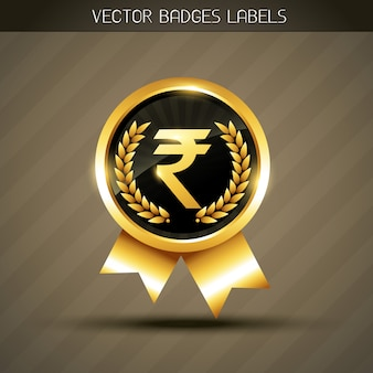 Etiqueta de símbolo de rupia