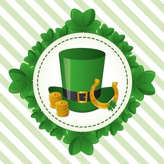 Etiqueta de sombrero verde, feliz día de san patricio