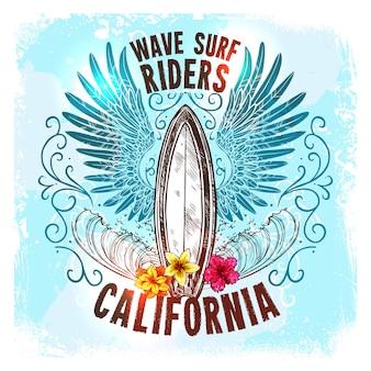 Etiqueta de la tabla de surf