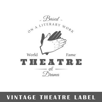 Etiqueta de teatro aislada sobre fondo blanco