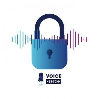 Etiqueta de tecnología de voz con candado de seguridad.
