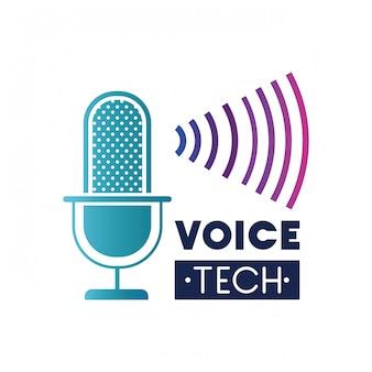 Etiqueta de tecnología de voz con micrófono y onda de sonido.