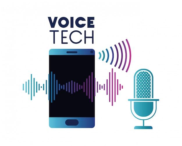 Etiqueta de tecnología de voz con teléfono inteligente y asistente de voz.