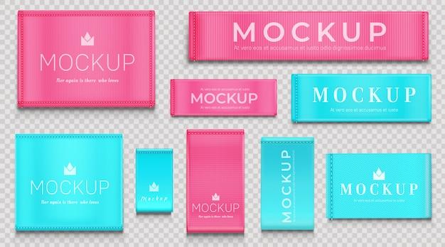 Etiqueta de tela azul y rosa, etiquetas de tela para textiles