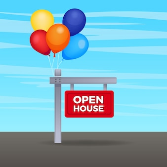 Etiqueta con tema de signo de casa abierta