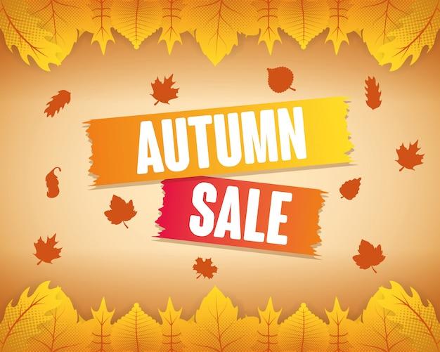 Etiqueta de temporada de venta de otoño