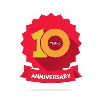 Etiqueta de vector de aniversario de diez años
