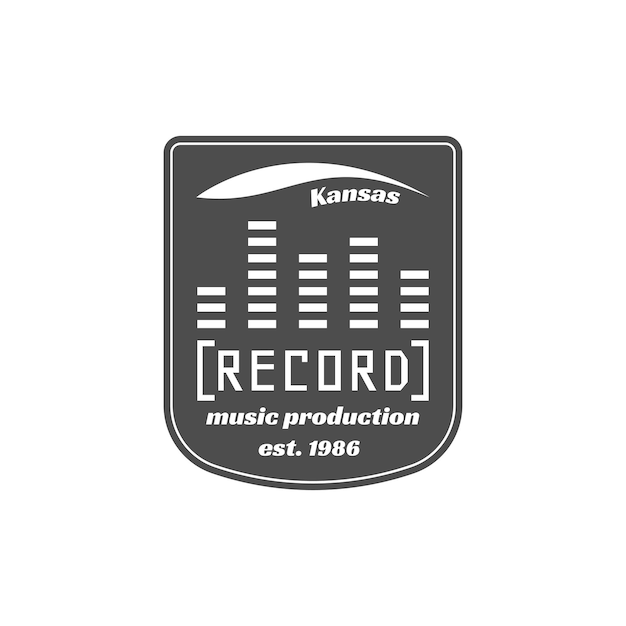 Etiqueta de vector de estudio de grabación, insignia, logotipo de emblema con instrumento musical. ilustración vectorial de stock aislada sobre fondo blanco.
