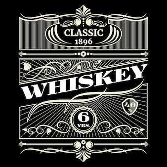 Etiqueta de vector de whisky americano antiguo vintage