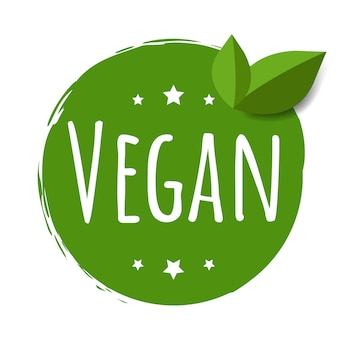 Etiqueta vegana aislada fondo blanco con malla de degradado, ilustración vectorial