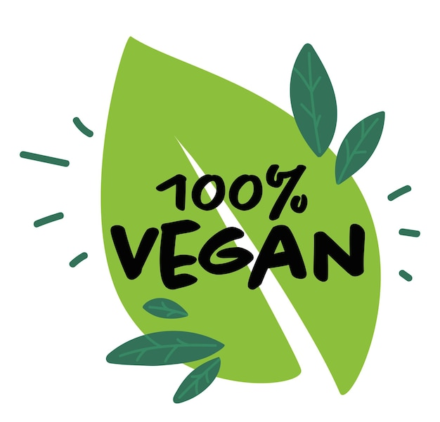 Etiqueta vegana de porcentaje natural y orgánico.