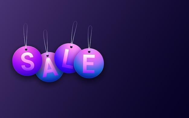 Etiqueta de venta de círculo colgante en fondo de color de luz de neón